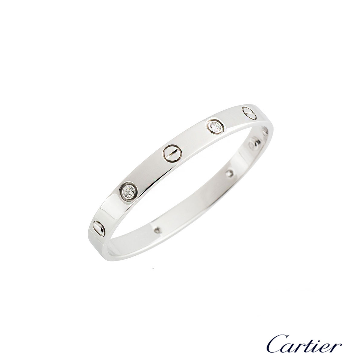 Cartier White Gold Half Diamond Love Bracelet Size 16